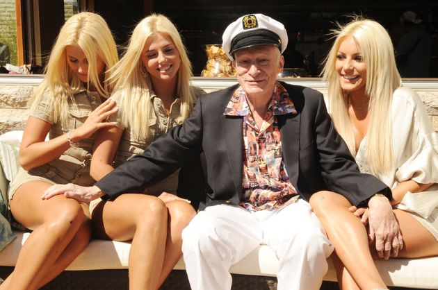 Kristina and Karissa Shannon, Hugh Hefner and Crystal Harris attend Hugh Hefner's 83rd birthday pool...
