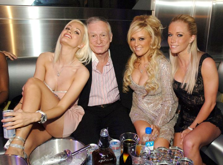 "Holly Madison, Hugh Hefner, Bridget Marquardt and Kendra Wilkinson. The reality series ""The Girls Next Door"" followed Hefner'"