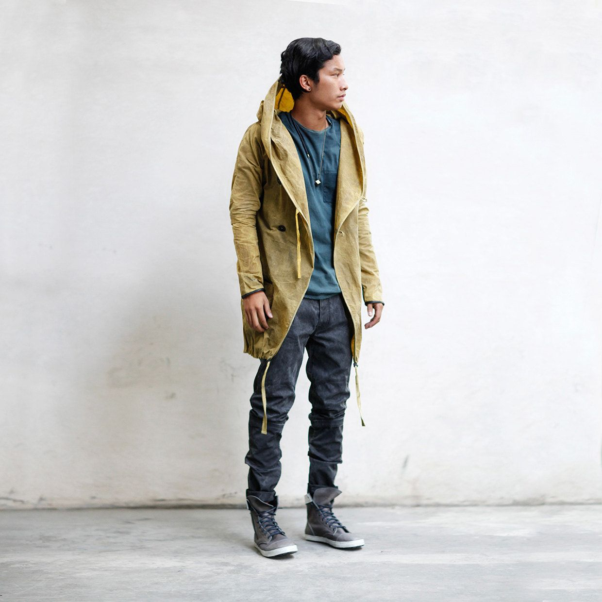 Heathen Clothing, based in Los Angeles, makes a great hand-dyed beeswax trench