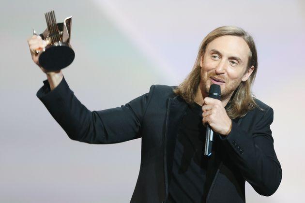 David Guetta receives an award during Les Victoires De La Musique at Le Zenith on Feb. 13, 2015 in Paris,