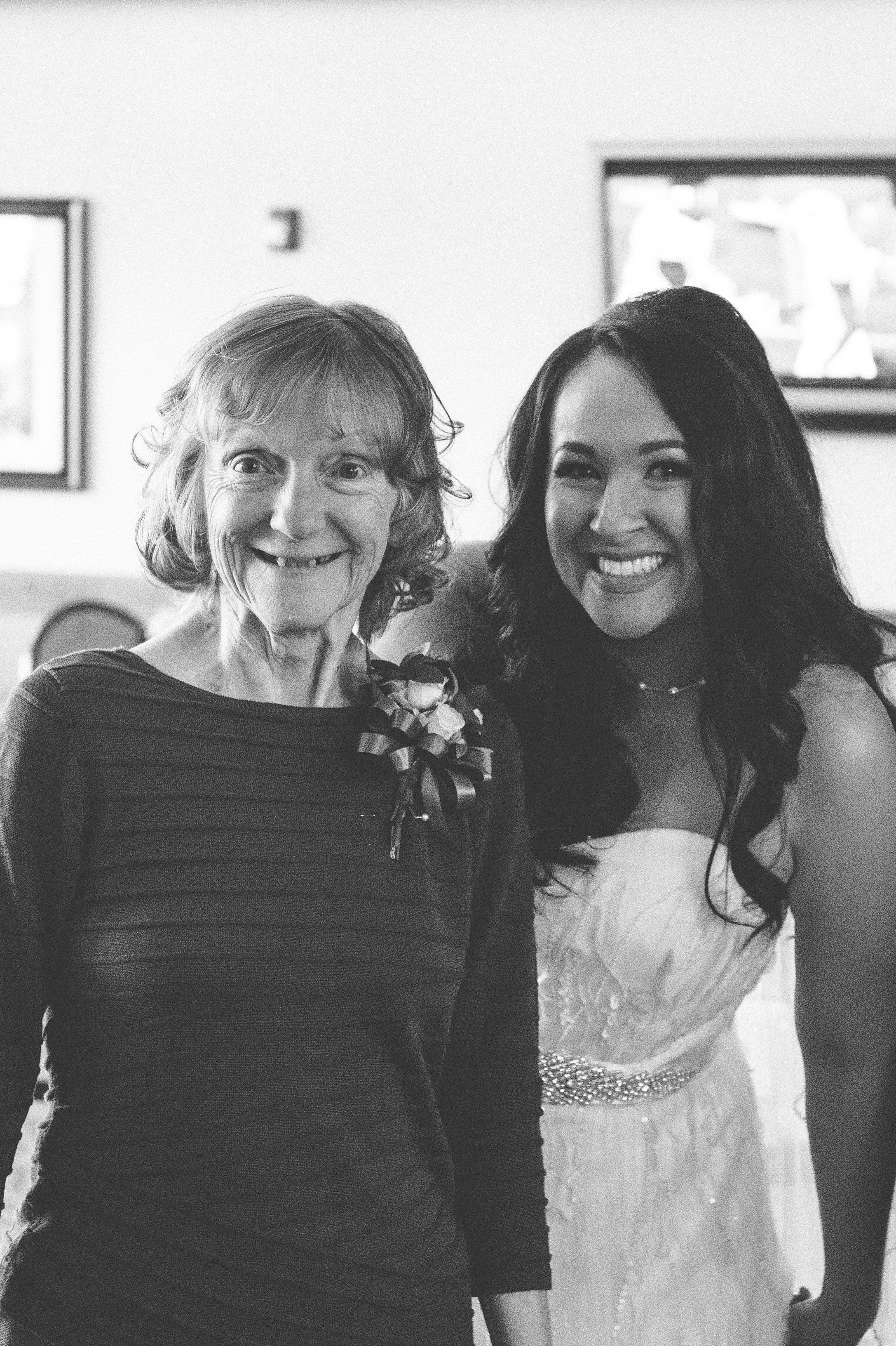 Julia Napolitano (right) poses with her mother, LInda, on her wedding day. Because Linda, 66, has advanced stages of Alzheime