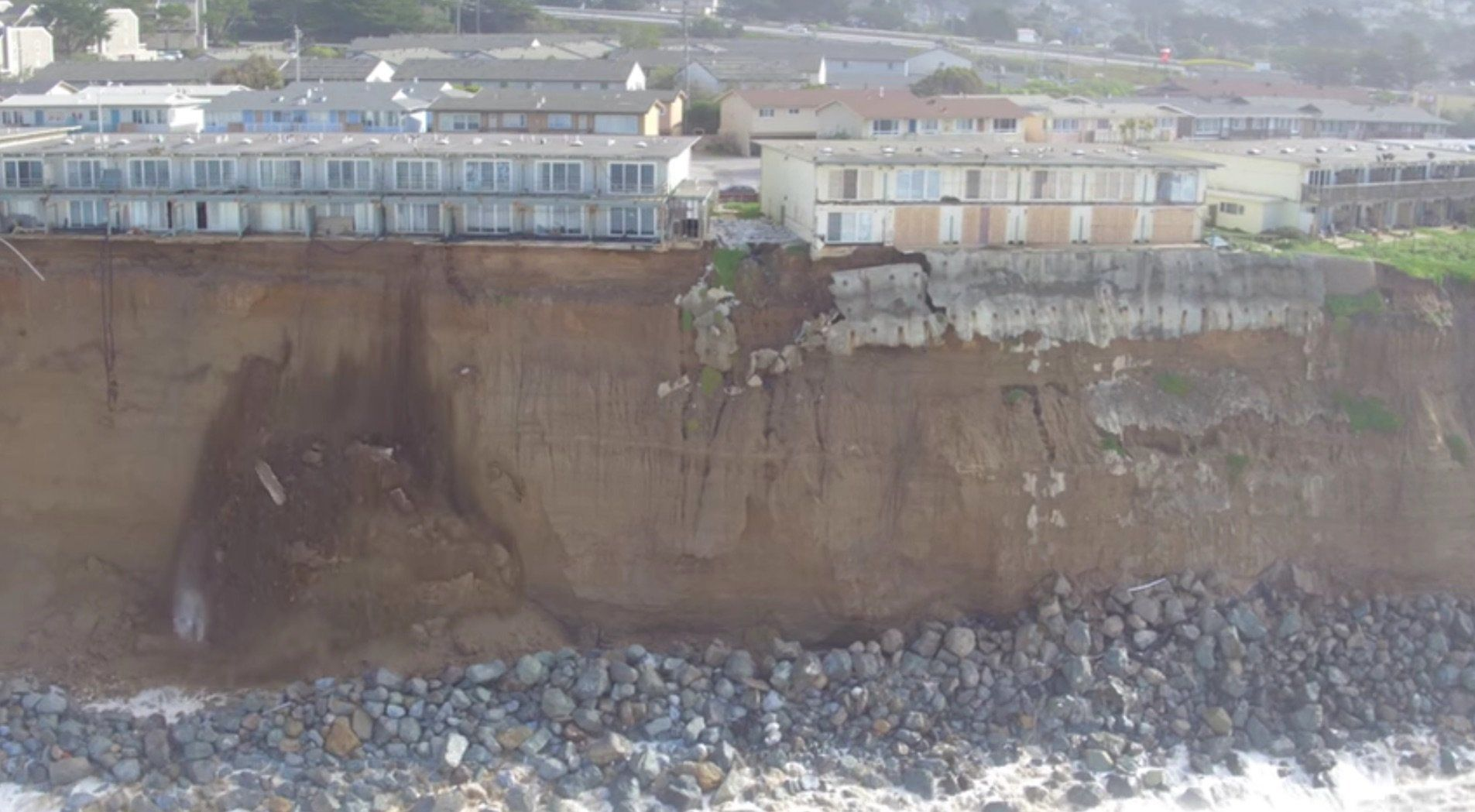 Apartments on the brink of collapse in Pacifica.