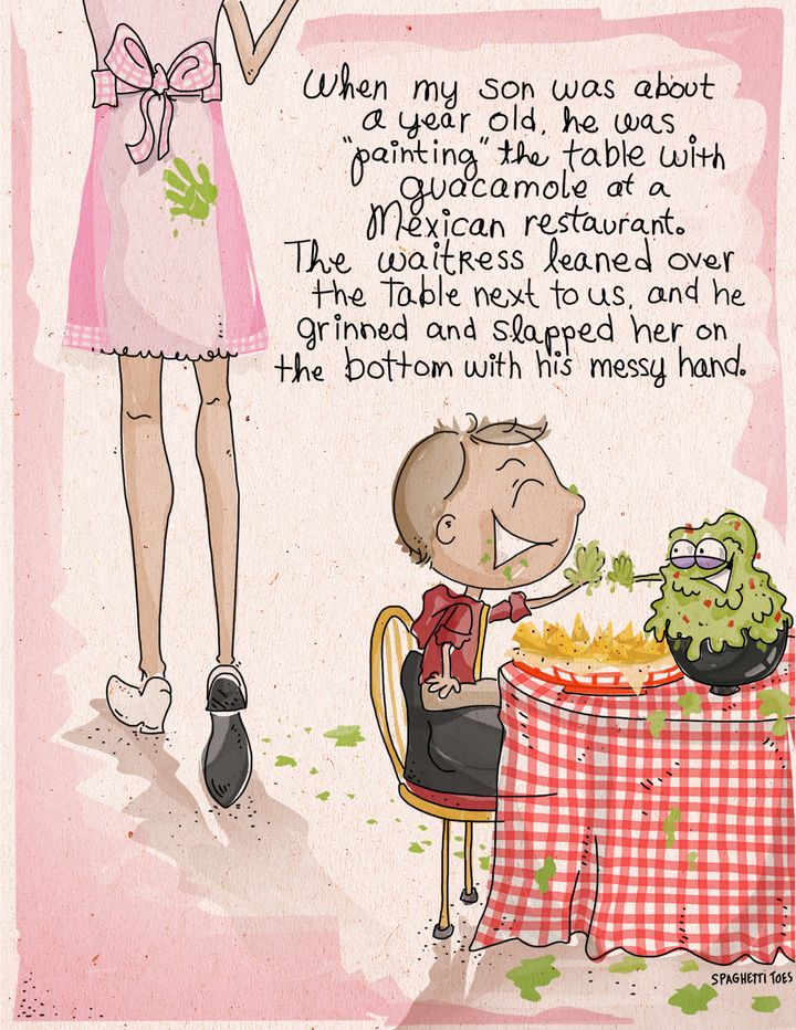 """<a href=""""http://spaghetti-toes.tumblr.com/"""" target=""""_blank"""">Spaghetti Toes</a> illustrated this hilariously embarrassing restaurant story, from HuffPost Parents reader Norah Simensen."""