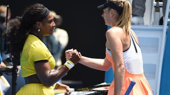 Serena Williams of the US (L) shakes hands as she celebrates after victory in her women's singles match against Russia's Maria Sharapova on day nine of the 2016 Australian Open tennis tournament in Melbourne on January 26, 2016. AFP PHOTO / WILLIAM WEST-- IMAGE RESTRICTED TO EDITORIAL USE - STRICTLY NO COMMERCIAL USE / AFP / WILLIAM WEST        (Photo credit should read WILLIAM WEST/AFP/Getty Images)