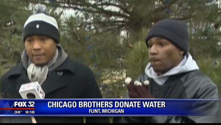 Two brothers from Chicago are helping the people of Flint by donating several dozen cases of water.
