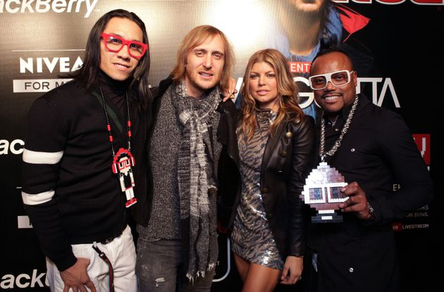 Singer Taboo, David Guetta, Fergie and apl.de.ap attend The Black Eyed Peas Super Bowl Party presented...