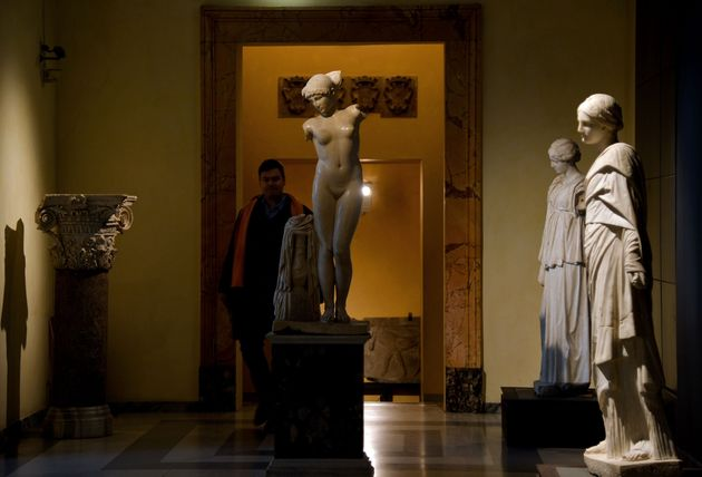 The Italian government opted to cover up classical nude sculptures at Rome's Capitoline Museum on the...
