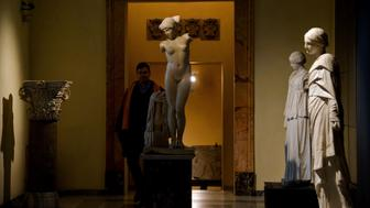 Visitors walk past statues on display at Rome's Capitoline Museum (Musei Capitolini) on Capitol Hill on January 26, 2016.  Italy's desire to court visiting Iranian President Hassan Rouhani extended to covering up classical nude sculptures in the Capitoline Museum, where he met Prime Minister Matteo Renzi, it emerged on Tuesday. / AFP / FILIPPO MONTEFORTE        (Photo credit should read FILIPPO MONTEFORTE/AFP/Getty Images)