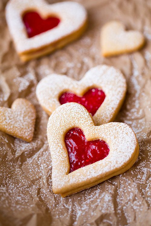 "<strong>Get the <a href=""http://www.cookingclassy.com/2014/01/linzer-cookies/"" target=""_blank"">Linzer Hearts recipe</a>"