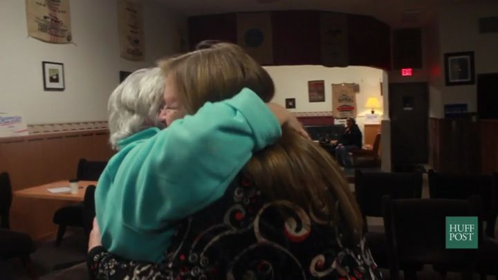 Jane Sanders embraces a supporter in a hug after a campaign event in Storm Lake, Iowa on January 19, 2016.