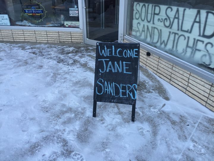 A sign displayed in front of a cafe in Storm Lake, Iowa, where Jane Sanders held a campaign event on January 19, 2016.