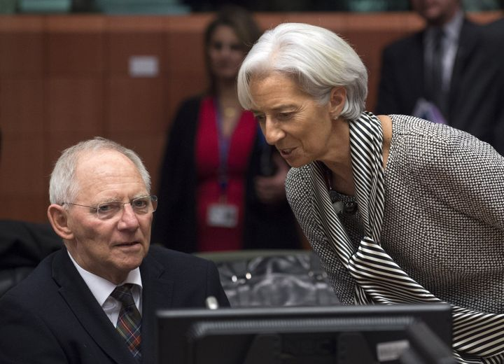 IMF Managing Director Christine Lagarde, right, speaks to German Finance Minister Wolfgang Schaüble. In the context of t