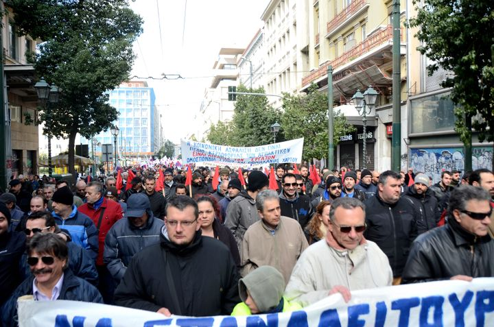 The Greek union PAME (All Workers Militant Front) demonstrated on Jan. 23, 2016, in Athens against the planned law that will