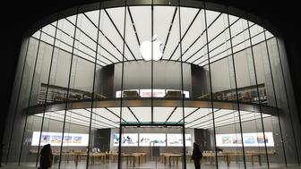 NANJING, CHINA - JANUARY 15:  (CHINA OUT) Nanjing's second Apple Store gets prepared to open next day on January 15, 2016 in Nanjing, Jiangsu Province of China. Apple Inc. will be finished its 31 Apple Stores after the one to be opened in Nanjing.  (Photo by ChinaFotoPress/ChinaFotoPress via Getty Images)