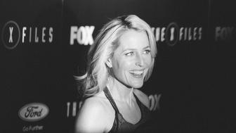 LOS ANGELES, CA - JANUARY 12:  (EDITORS NOTE: Image has been converted to black and white.) Actress Gillian Anderson attends the premiere of Fox's 'The X-Files' at California Science Center on January 12, 2016 in Los Angeles, California.  (Photo by Vincent Sandoval/WireImage)