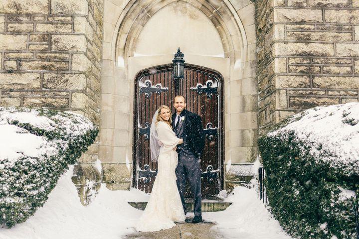 The newlyweds outside of St. Matthews Church.