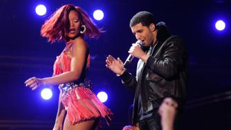 LOS ANGELES, CA - FEBRUARY 13:  Drake and Rihanna perform onstage during The 53rd Annual GRAMMY Awards held at Staples Center on February 13, 2011 in Los Angeles, California.  (Photo by Kevin Mazur/WireImage)
