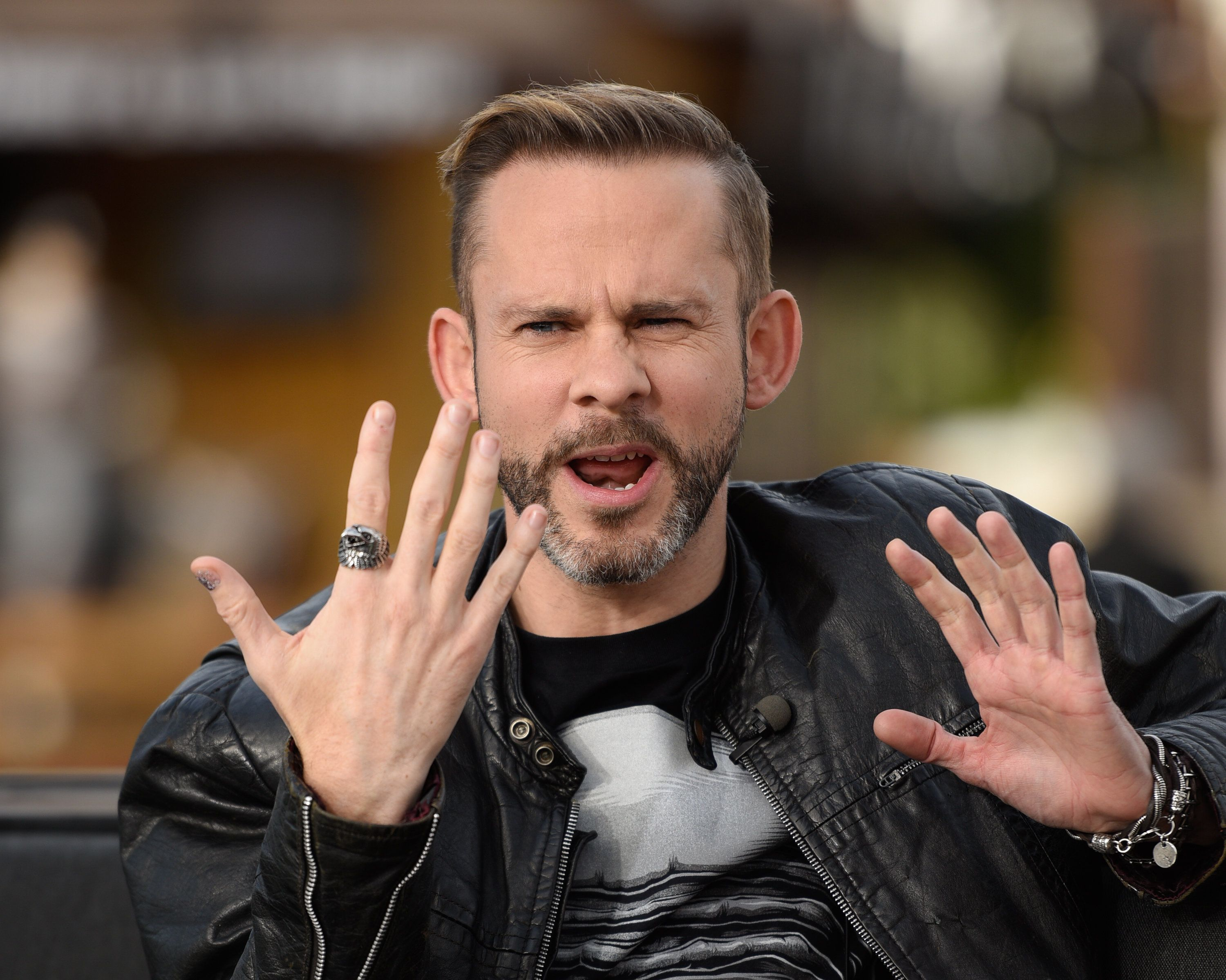 UNIVERSAL CITY, CA - JANUARY 22:  Dominic Monaghan visits 'Extra' at Universal Studios Hollywood on January 22, 2016 in Universal City, California.  (Photo by Noel Vasquez/Getty Images)