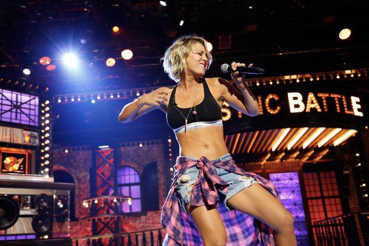 "Kaley Cuoco performing Ludacris' ""Move B***h"" on Spike ""Lip Sync Battle."""