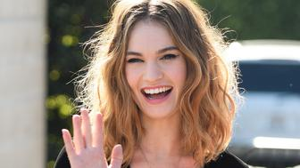 UNIVERSAL CITY, CA - JANUARY 25:  Lily James visits 'Extra' at Universal Studios Hollywood on January 25, 2016 in Universal City, California.  (Photo by Noel Vasquez/Getty Images)