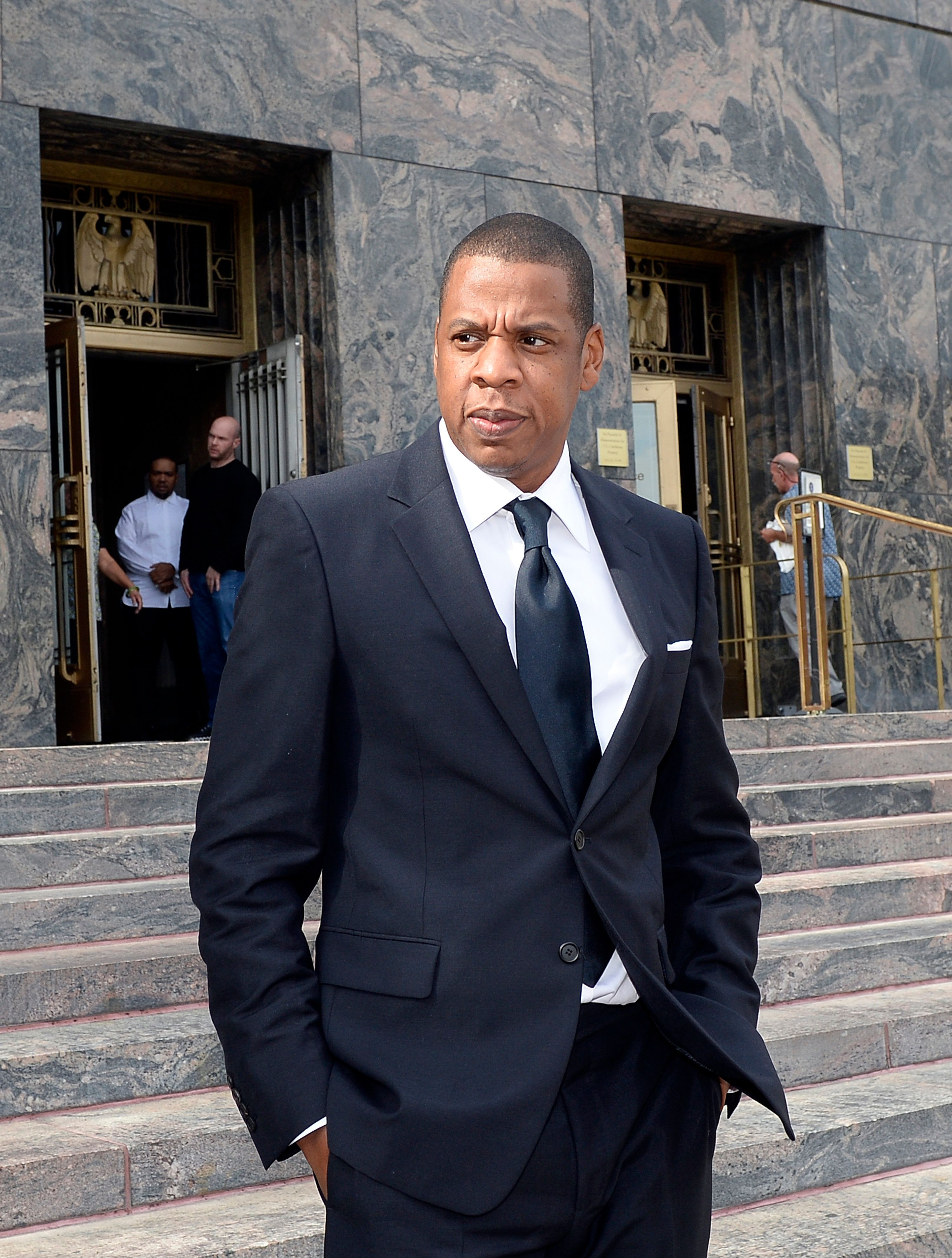 LOS ANGELES CA - OCTOBER 14: Rap mogul Jay Z departs United States District Court after testifying in a copyright lawsuit on October 14, 2015 in Los Angeles, California. Jay Z and Timbaland are being accused of violating the copyright to Egyptian composer Baligh Hamdi's 1957 song 'Khosara Khosara' by allegedly misusing the music to create Jay Z's song 'Big Pimpin.'  (Photo by Kevork S. Djansezian/Getty Images)