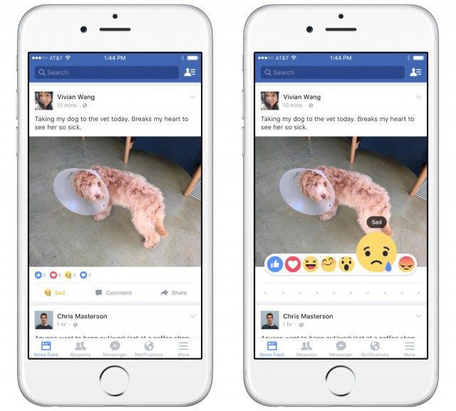 """Instead of just """"liking"""" posts in your newsfeed, """"reactions"""" willlet you have a more diverse emotional response."""