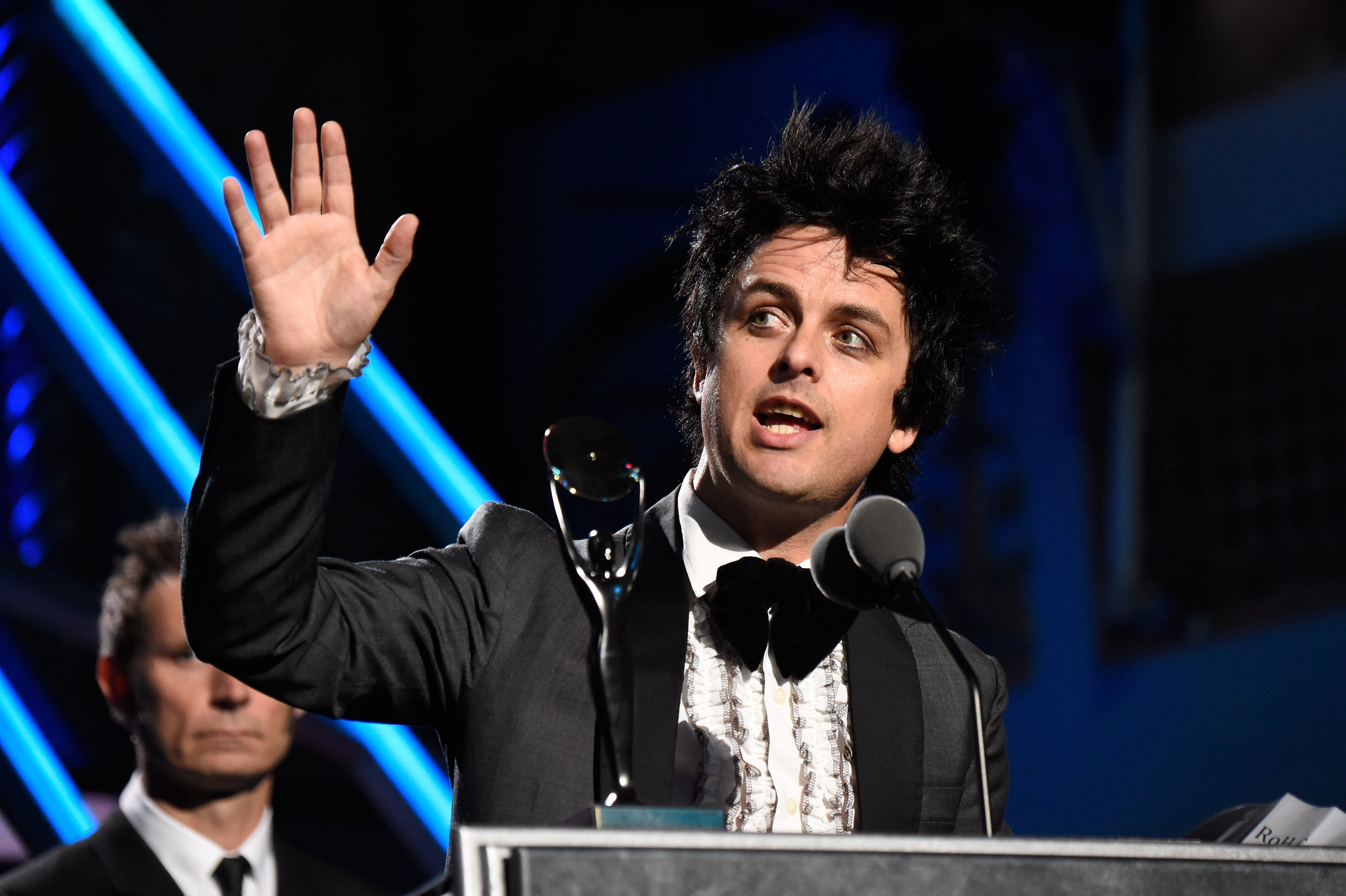 CLEVELAND, OH - APRIL 18:  Billie Joe Armstrong speaks onstage during the 30th Annual Rock And Roll Hall Of Fame Induction Ceremony at Public Hall on April 18, 2015 in Cleveland, Ohio.  (Photo by Kevin Mazur/WireImage for Rock and Roll Hall of Fame)