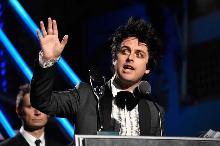 Billie Joe Armstrong speaks onstage during the 30th Annual Rock And Roll Hall Of Fame Induction Ceremony on April 18, 2015 in