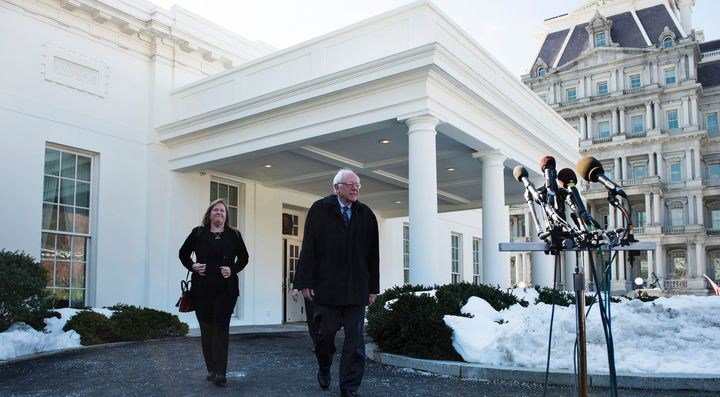Bernie Sanders spoke to reporters after meeting with President Barack Obama on Wednesday.