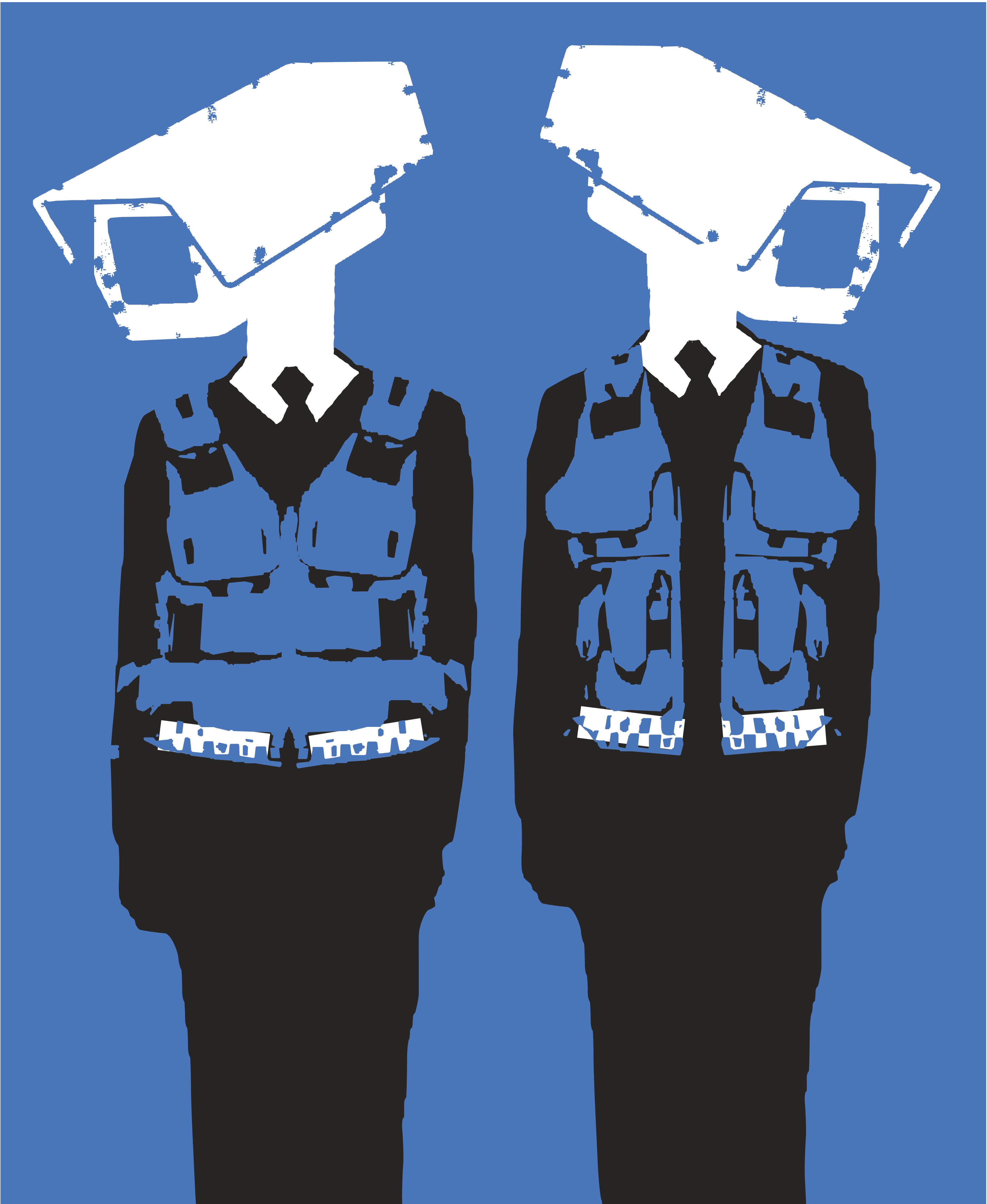 Police officers with security cameras for heads