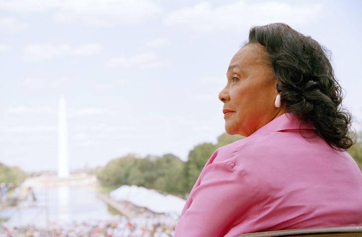 Coretta Scott King attends a ceremony dedicating an engraved marker in honor of Dr. Martin Luther King Jr.'s 'I Have a Dream'