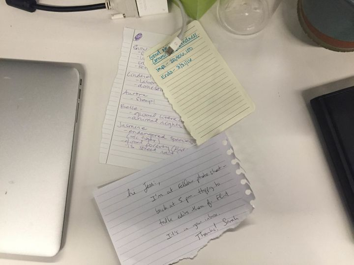 Handwritten notes from my colleagues supporting my experiment.