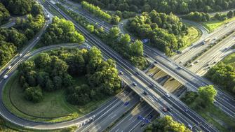 Crossing Highways near Cologne, Germany, taken ftom a hot air balloon.  BAB-Kreuz Köln Süd (A4/A555), aufgenommen während einer Ballonfahrt.
