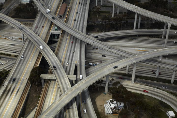 Where the I-105 and I-110 meet in Los Angeles, California.
