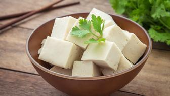 Tofu cubes in bowl and parsley