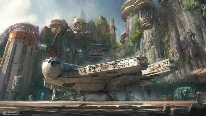 An artist's rendition showing part of the Star Wars Land planned for Disney's theme parks.