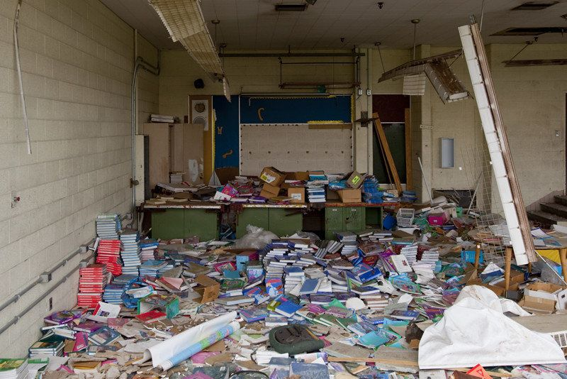 Supplies left behind at Joy Middle School, which closed in 2007 and was demolished several years later.