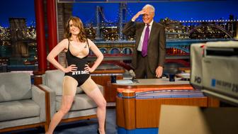 NEW YORK - MAY 7: Tina Fey takes off her dress  during her last appearance on the CBS Late Show with David Letterman, May 7, 2015 in New York. (Photo by John Paul Filo/CBS via Getty Images)