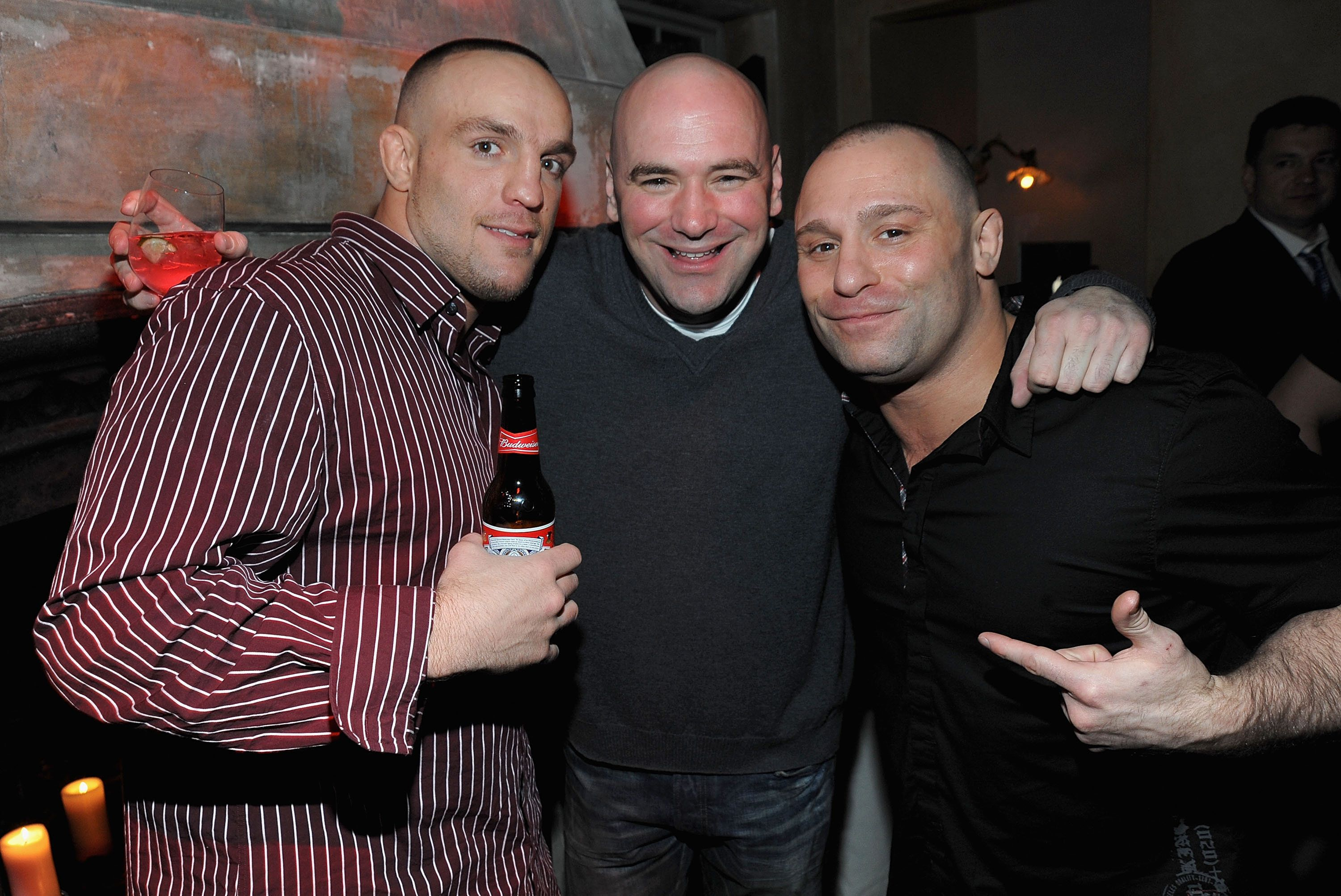 MMA fighter Pete Sell, Dana White, UFC President and UFC fighter Matt Serra attend the UFC 111 party at 632 Hudson on March 26, 2010 in New York City. (Photo by Jamie McCarthy/WireImage)