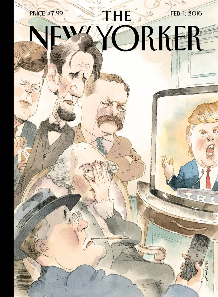 In this New Yorker cover illustration, past U.S. presidents watch GOP front-runner Donald Trump on TV -- and do not like what