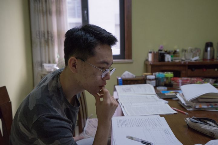 Richard studies at home on a Sunday morning in January.