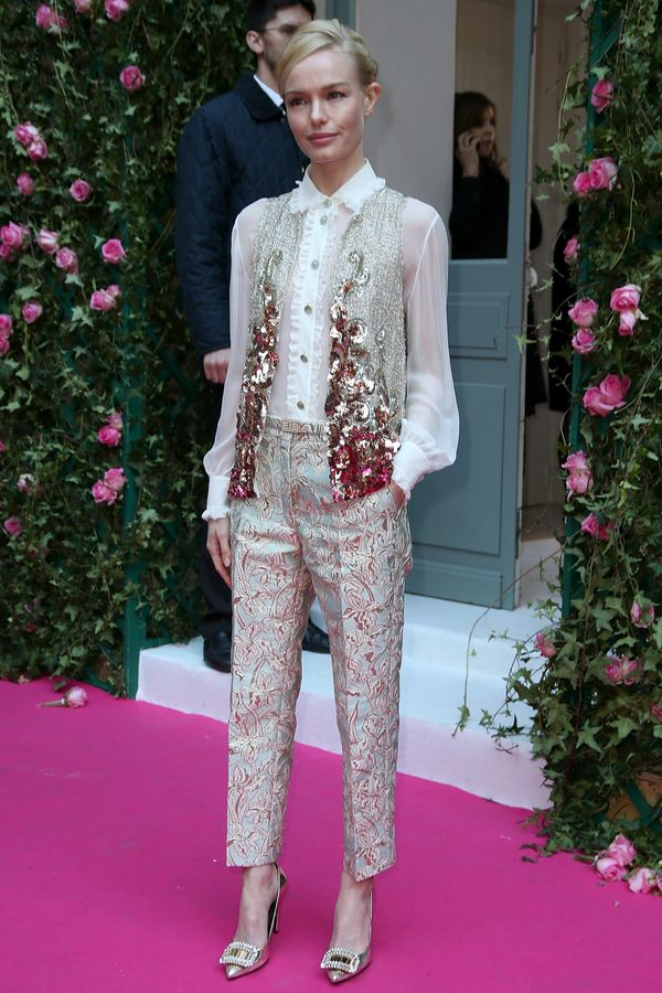 <strong>Kate Bosworth in Schiaparelli:</strong> The sequin vest, Victorian-esque white blouse and baroque-inspired pants