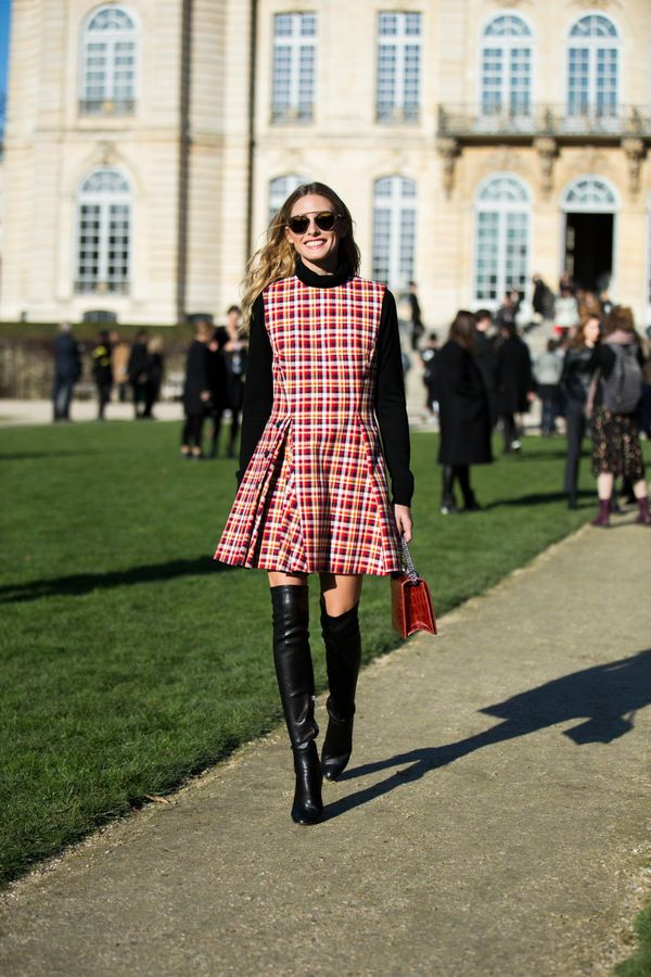 <strong>Olivia Palermo in Dior:</strong> This outfit is great because it's the perfect way to wear a more summery dress durin