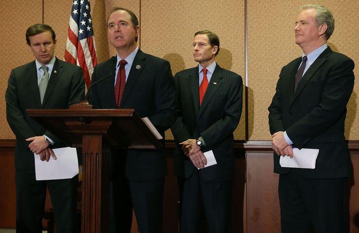 Chris Murphy (D-CT), Rep. Adam Schiff (D-CA), Sen. Richard Blumenthal (D-CT) and Rep. Chris Van Hollen (D-MD), discuss a bill