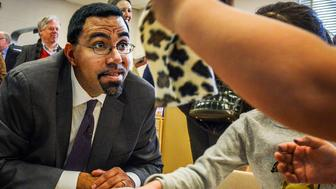 SILVER SPRING, MD - JANUARY 5: Acting Secretary of Education John King visits with pre-K students at JoAnn Leleck Elementary School, on January, 05, 2016 in Silver Spring, MD. (Photo by Bill O'Leary/The Washington Post via Getty Images)