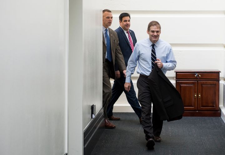House Freedom Caucus Chairman Jim Jordan of Ohio, flanked here by HFC members Scott Perry of Pennsylvania and Raul Labrador o