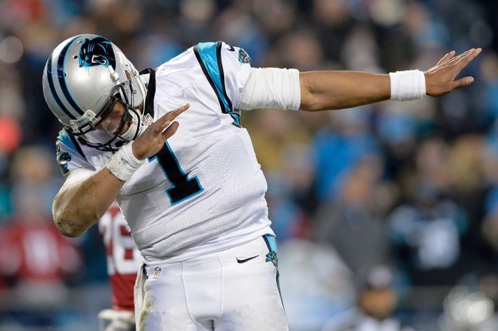 Newton dances after scoring a touchdown in his Carolina Panthers' NFC Championship game against the Arizona Cardinals on
