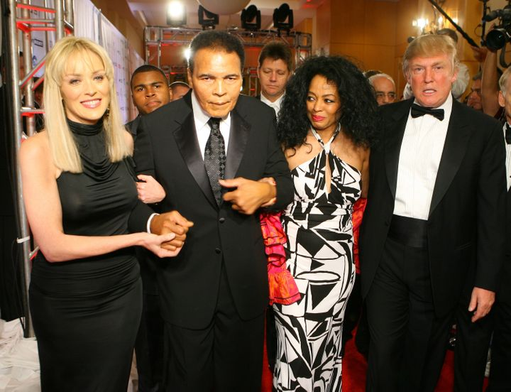 Sharon Stone, Muhammad Ali, Diana Ross and Donald Trump attend the Celebrity Fight Night Foundation's fundraiser in 2007