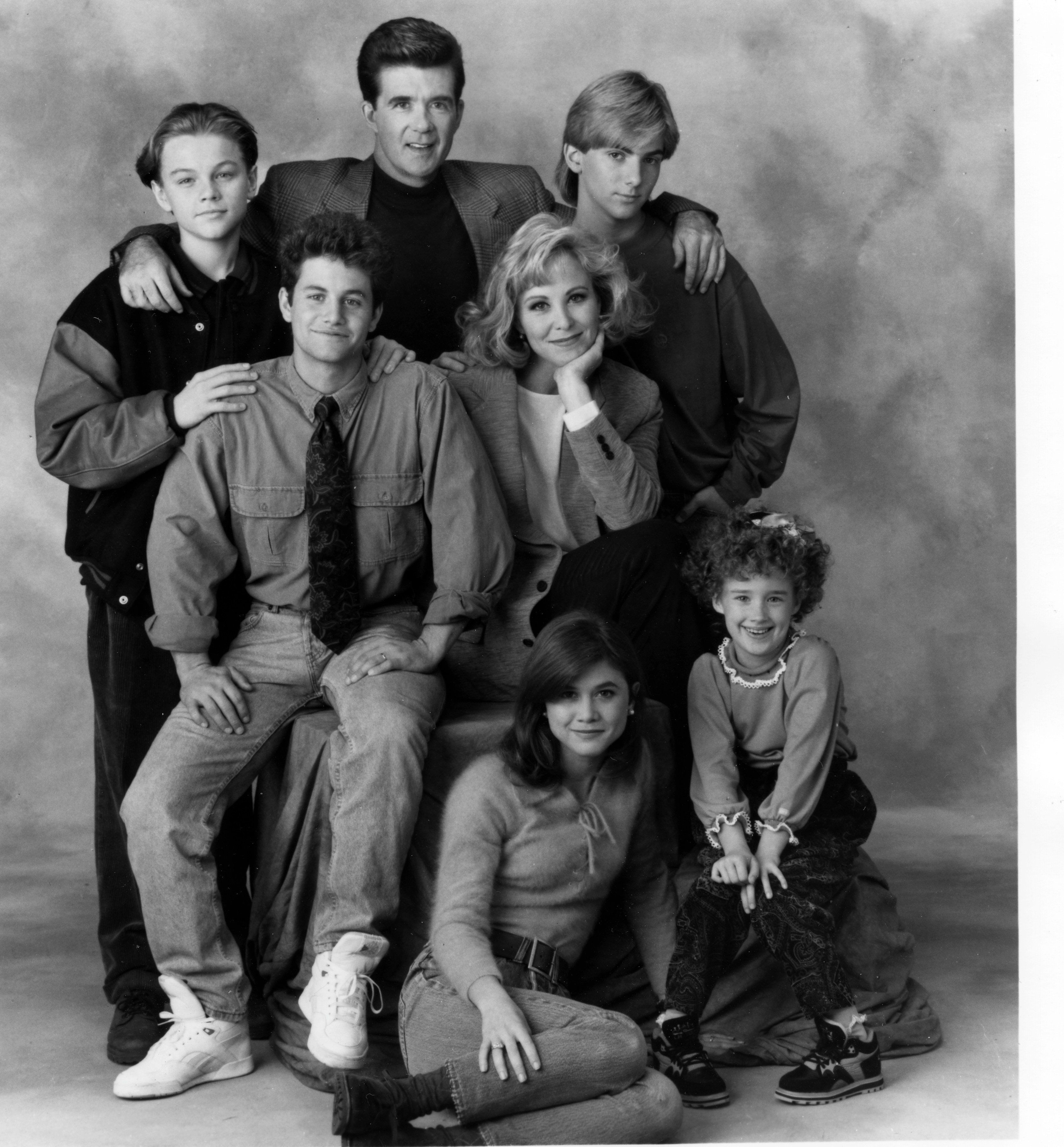 """Leonardo DiCaprio (back left) joined the cast of """"Growing Pains"""" in 1991. He was roughly the same age as Jeremy Miller (back"""