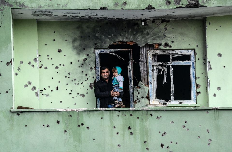 A damaged house in Silopi, close to the borders of Iraq and